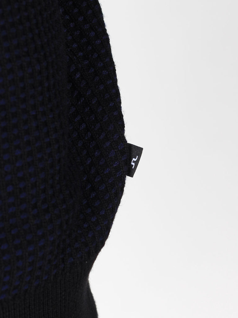 J Lindeberg Rento Stitched Knit Sweater in Midnight Blue  - 5
