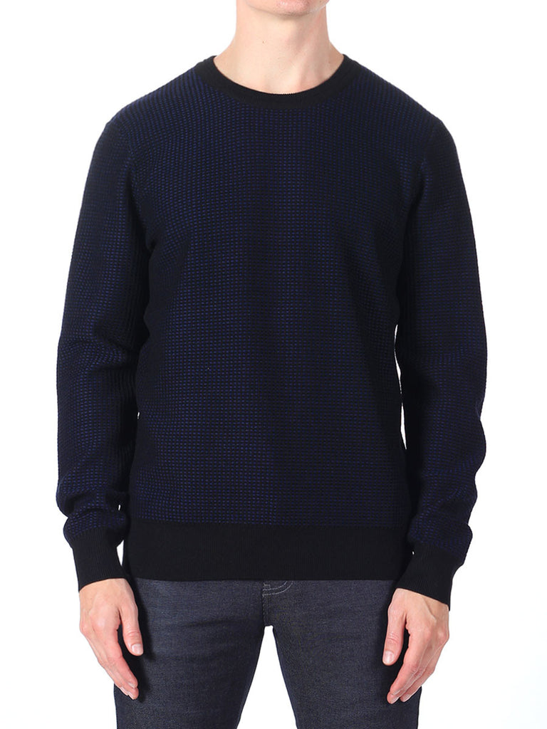 J Lindeberg Rento Stitched Knit Sweater in Midnight Blue  - 1