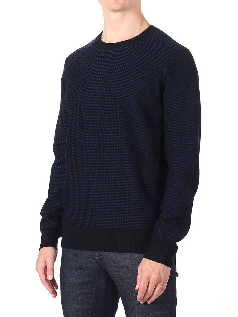 J Lindeberg Rento Stitched Knit Sweater in Midnight Blue  - 3