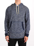 WORKSHOP FRENCH TERRY POCKET HOODY WITH SIDE ZIPPERS IN HEATHERED BLUE