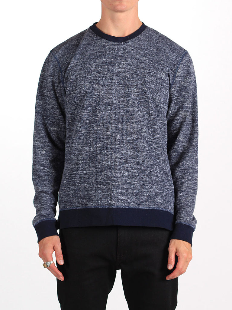 WORKSHOP FRENCH TERRY SWEATSHIRT WITH SIDE ZIPPERS IN HEATHERED BLUE