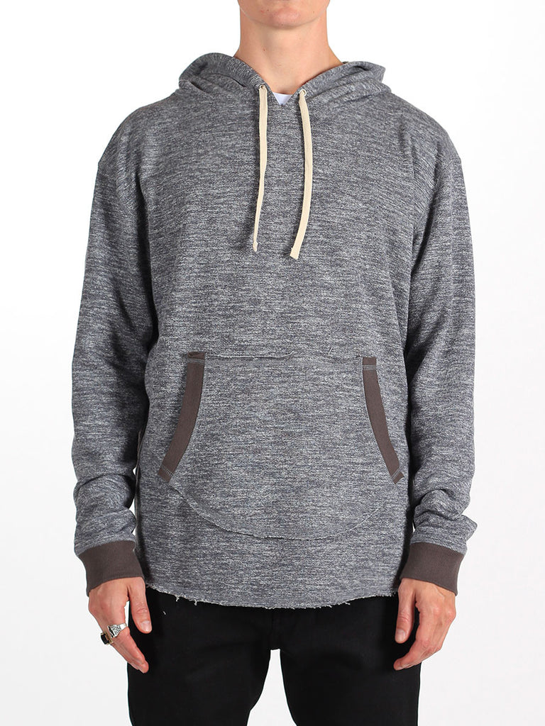 WORKSHOP FRENCH TERRY POCKET HOODY WITH SIDE ZIPPERS IN HEATHERED GREY