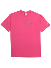 CHAMPION SMALL SCRIPT LOGO T-SHIRT IN PINK