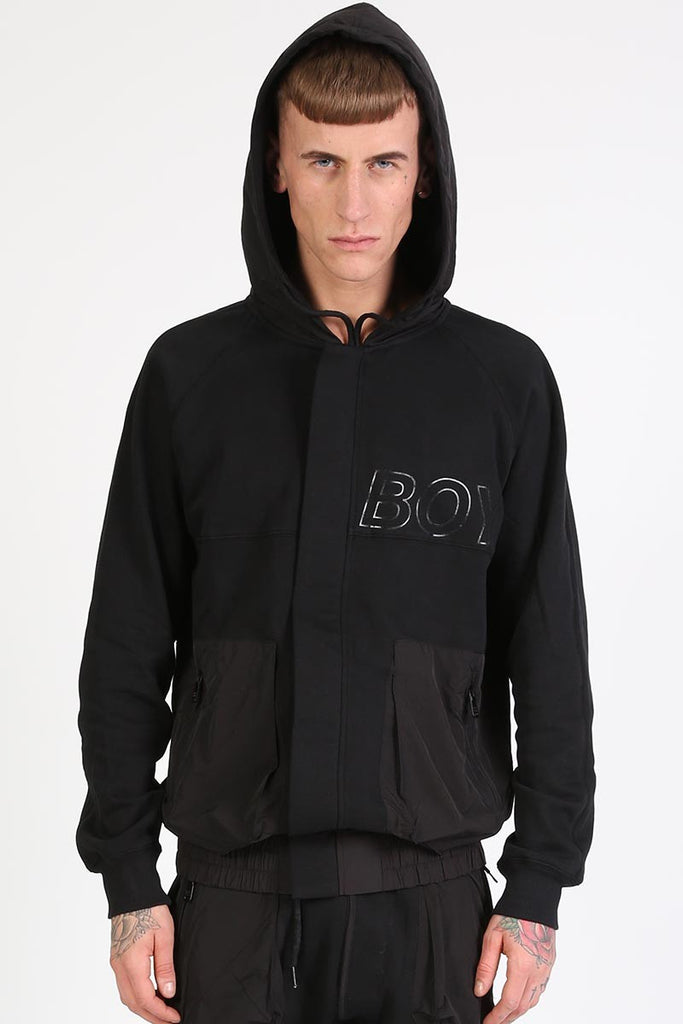 BOY LONDON CYCLE ZIP-UP HOODY IN BLACK  - 1