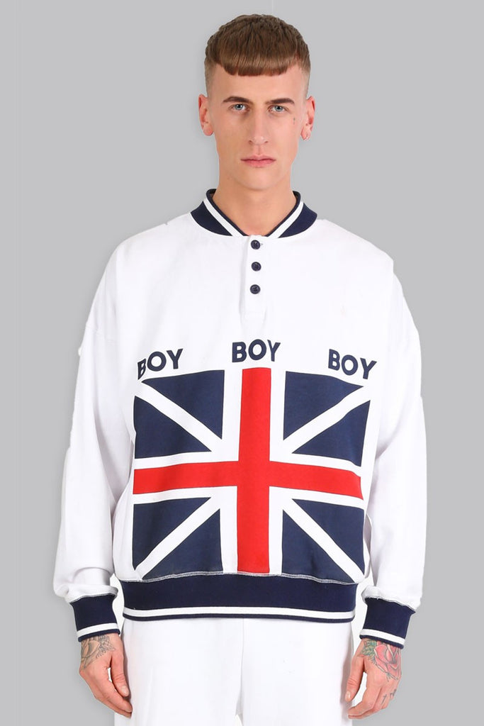 BOY LONDON RUGBY PULLOVER SWEATSHIRT WITH UK FLAG PRINT  - 1