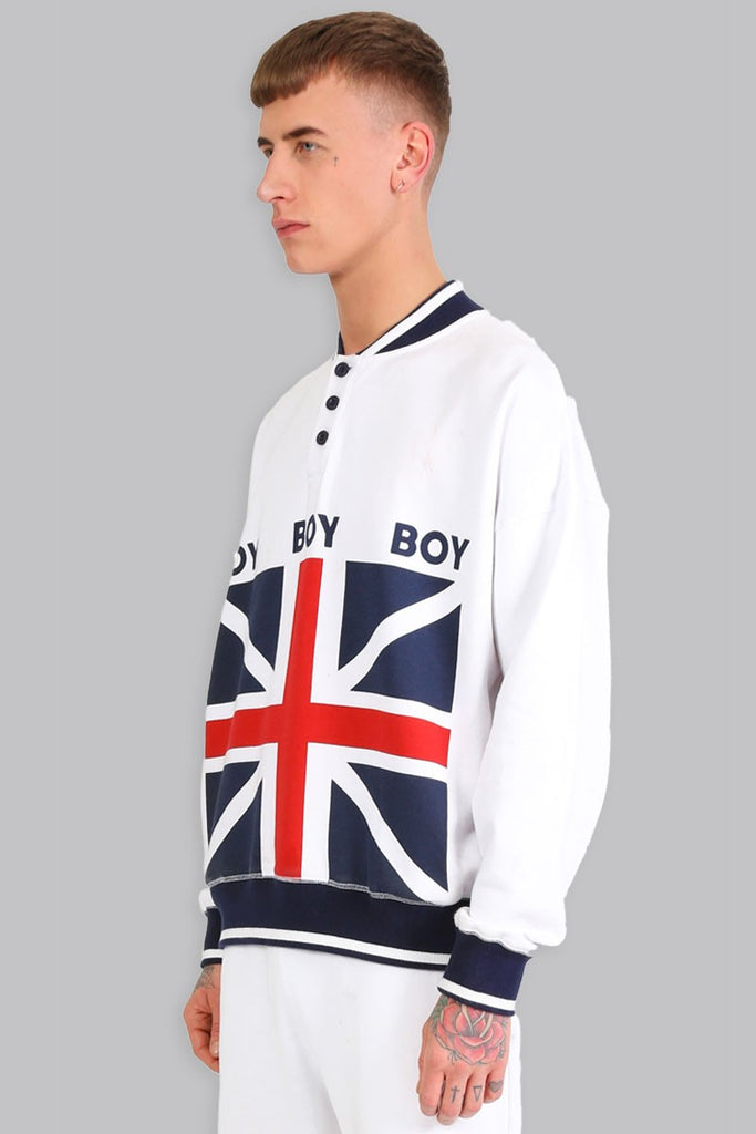 BOY LONDON RUGBY PULLOVER SWEATSHIRT WITH UK FLAG PRINT  - 2