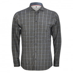 DESOTO LONG-SLEEVE WINDOW PANE CHECK SHIRT WITH SHARK COLLAR IN CHARCOAL