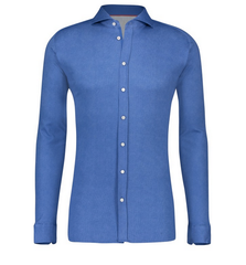 DESOTO LONG-SLEEVE SHIRT WITH SHARK COLLAR IN INDIGO
