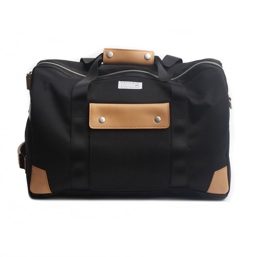 VENQUE DUFFLE 1.0 BAG IN BLACK WITH BROWN LEATHER  - 1