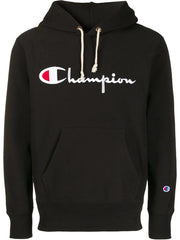 CHAMPION REVERSE WEAVE FULL LOGO PULL-OVER HOODIE IN BLACK
