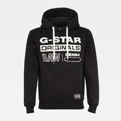 G-STAR ORIGINALS HOODED SWEATER IN DARK BLACK
