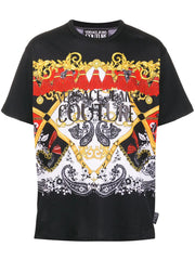 VERSACE JEANS COUTURE PAISLEY PRINT T-SHIRT IN BLACK