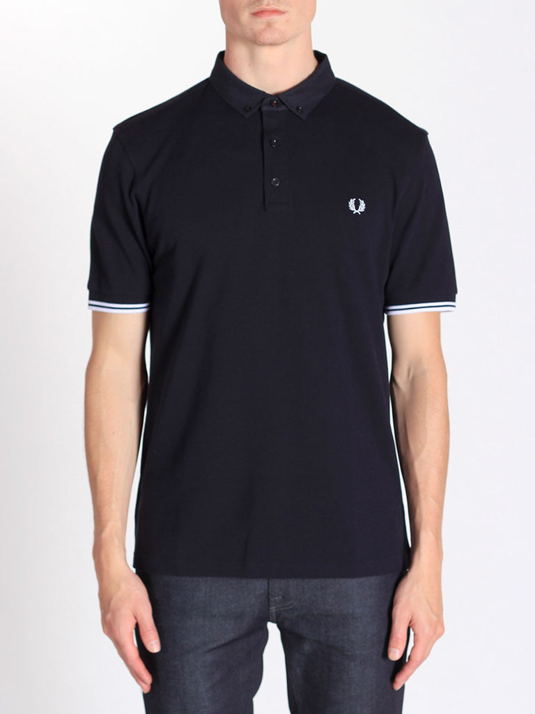 Fred Perry Woven Collar Pique Shirt in Navy  - 1