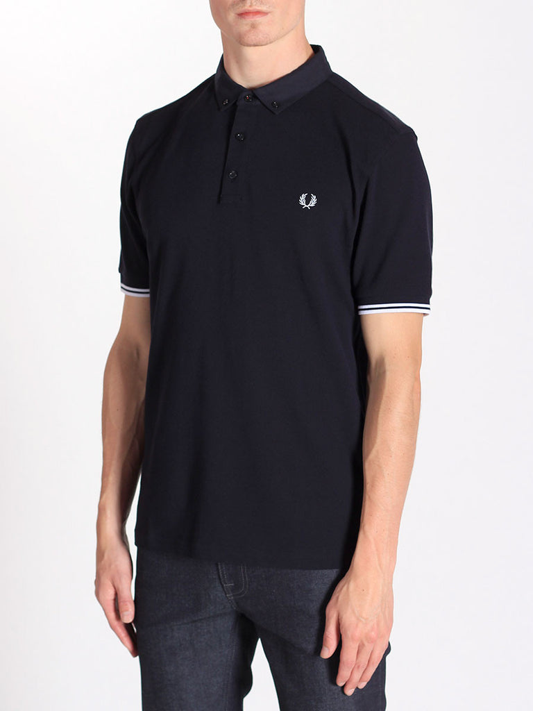 Fred Perry Woven Collar Pique Shirt in Navy  - 3