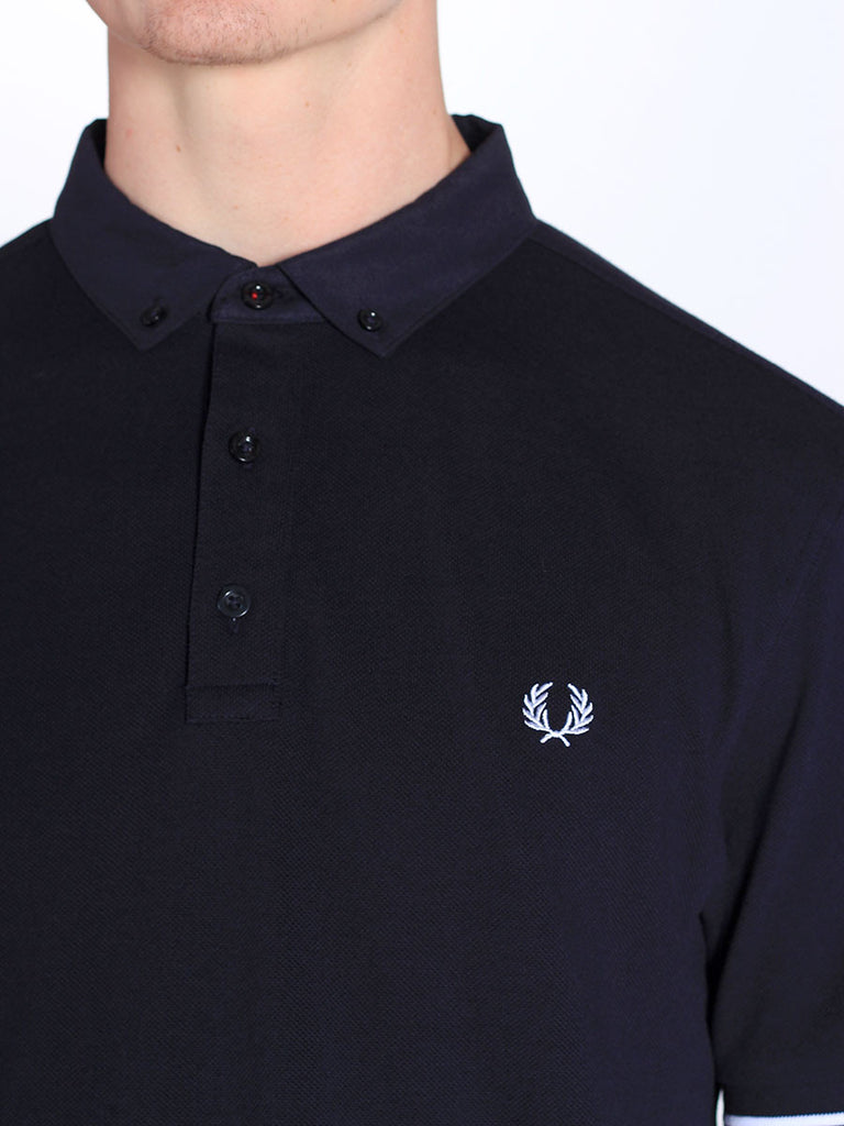 Fred Perry Woven Collar Pique Shirt in Navy  - 5