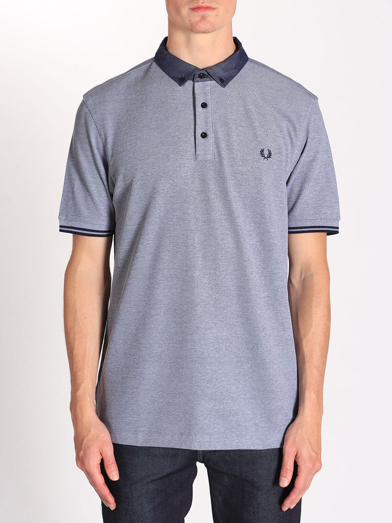 Fred Perry Woven Collar Pique Shirt in Dark Carbon Oxford  - 1