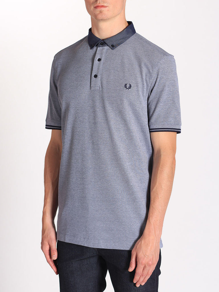 Fred Perry Woven Collar Pique Shirt in Dark Carbon Oxford  - 3