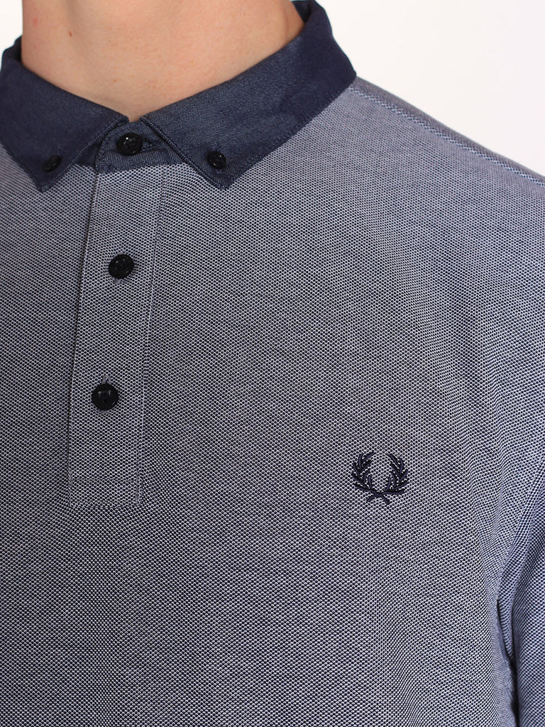 Fred Perry Woven Collar Pique Shirt in Dark Carbon Oxford  - 5