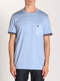 FRED PERRY BOMBER STRIPE CUFF T-SHIRT IN LIGHT SMOKE MARLE  - 1