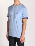 FRED PERRY BOMBER STRIPE CUFF T-SHIRT IN LIGHT SMOKE MARLE  - 2