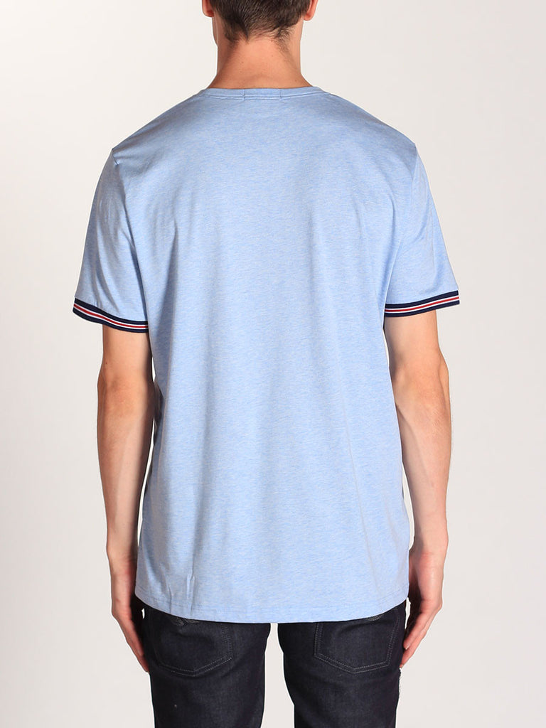 FRED PERRY BOMBER STRIPE CUFF T-SHIRT IN LIGHT SMOKE MARLE  - 3