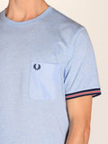 FRED PERRY BOMBER STRIPE CUFF T-SHIRT IN LIGHT SMOKE MARLE  - 4