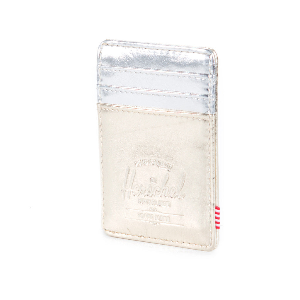 HERSCHEL SUPPLY CO. RAVEN WALLET IN TEXTURED GOLD AND SILVER  - 3