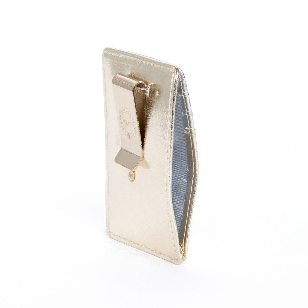 HERSCHEL SUPPLY CO. RAVEN WALLET IN TEXTURED GOLD AND SILVER  - 4