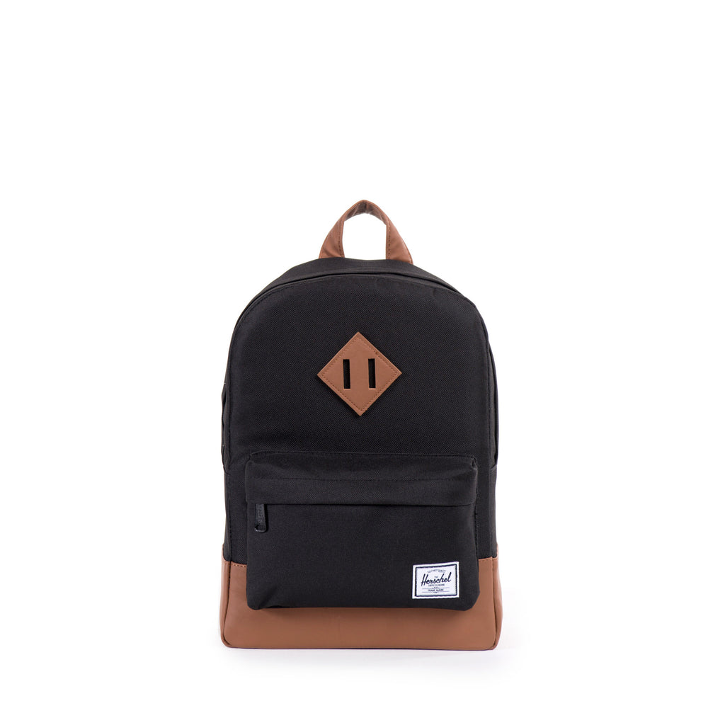 HERSCHEL HERITAGE KIDS BACKPACK IN BLACK WITH FAUX LEATHER DETAILS  - 1