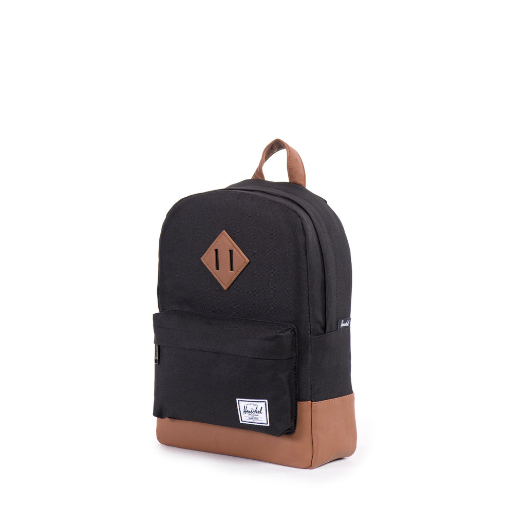 HERSCHEL HERITAGE KIDS BACKPACK IN BLACK WITH FAUX LEATHER DETAILS  - 2