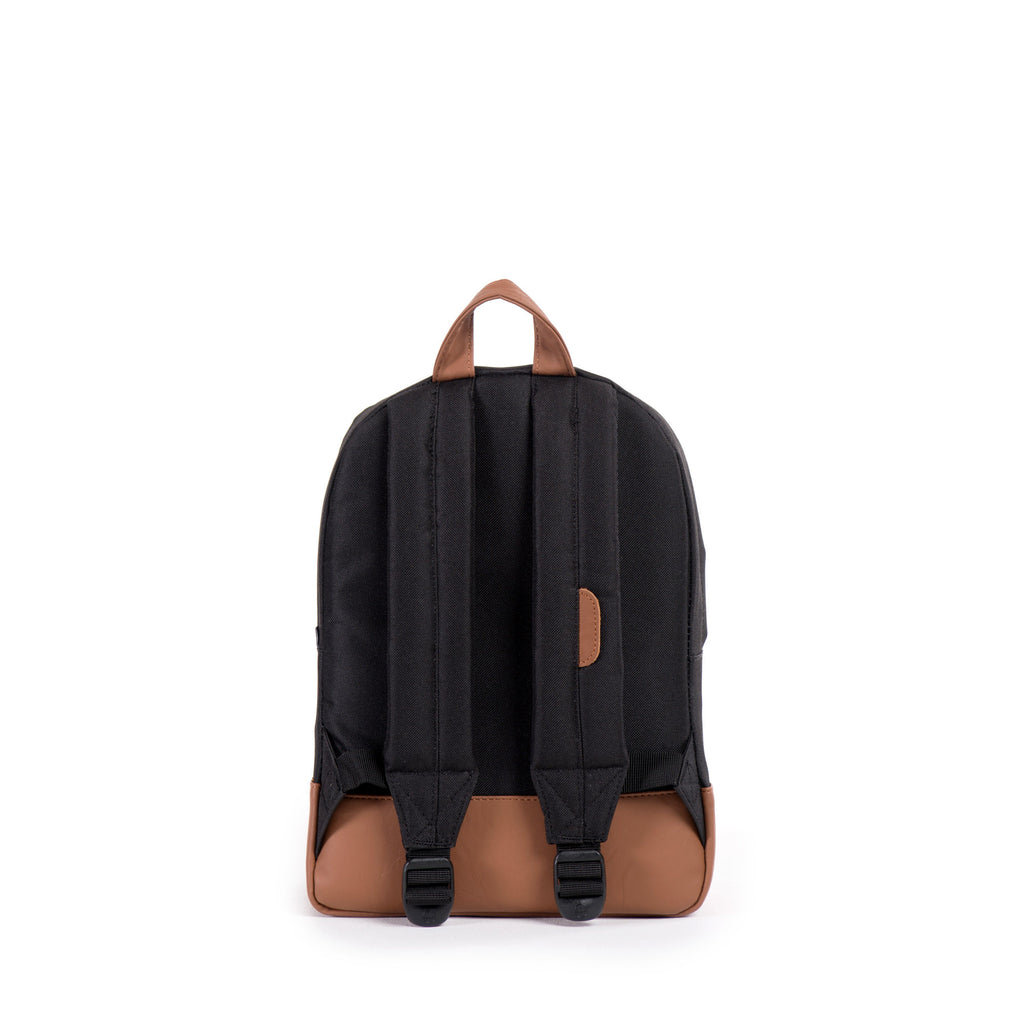HERSCHEL HERITAGE KIDS BACKPACK IN BLACK WITH FAUX LEATHER DETAILS  - 3