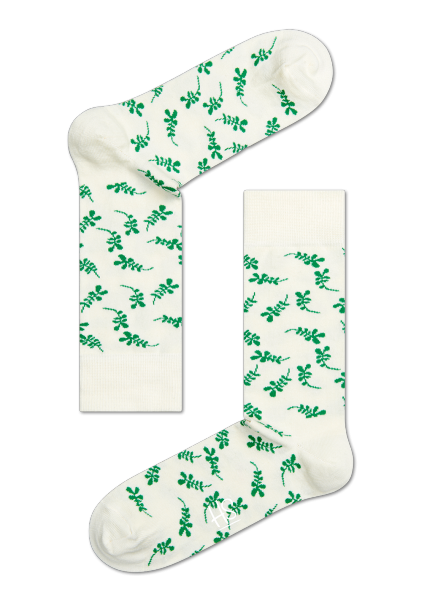HS CREAM SOCKS WITH GREEN TWIGS