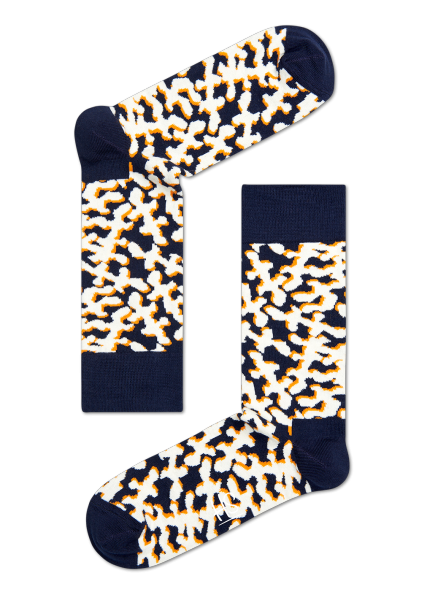 HS NAVY SOCKS WITH CORAL MOTIF