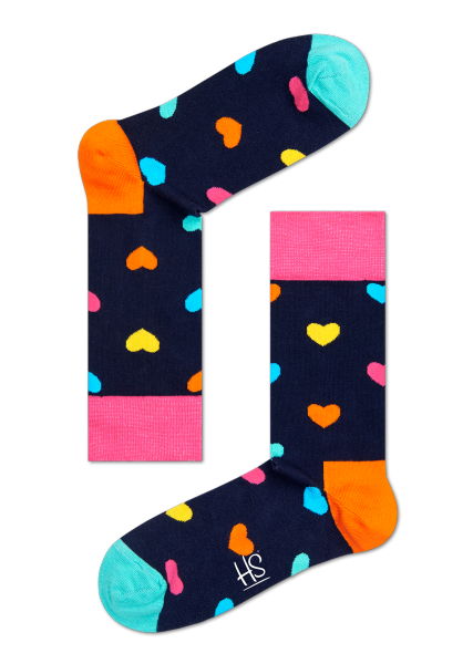 HS NAVY SOCKS WITH MULTI-COLOURED HEARTS (2015 EDITION)