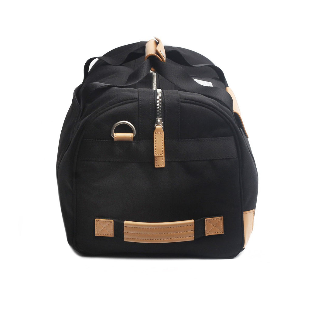 VENQUE DUFFLE 1.0 BAG IN BLACK WITH BROWN LEATHER  - 3