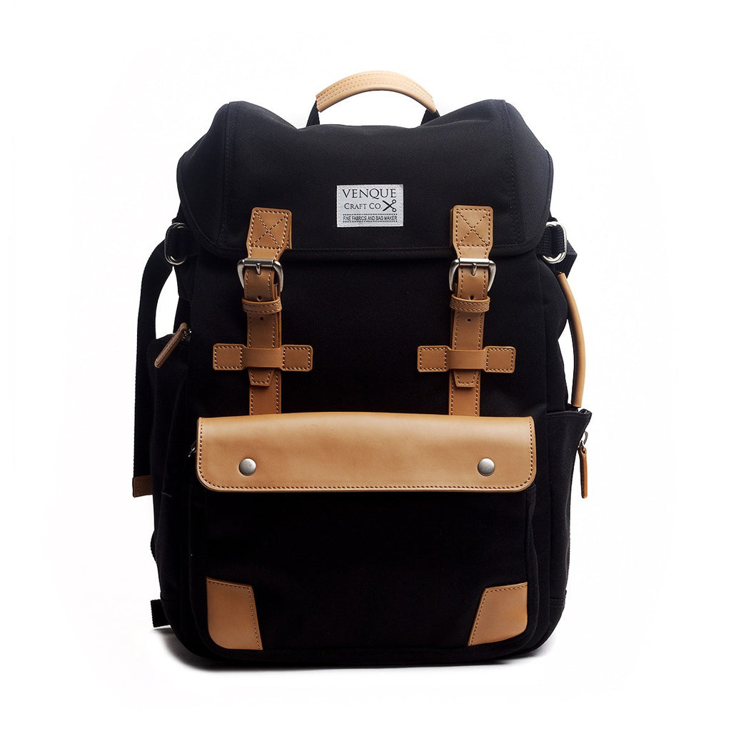 VENQUE ALPINE RUCKSACK IN BLACK WITH BROWN LEATHER  - 1