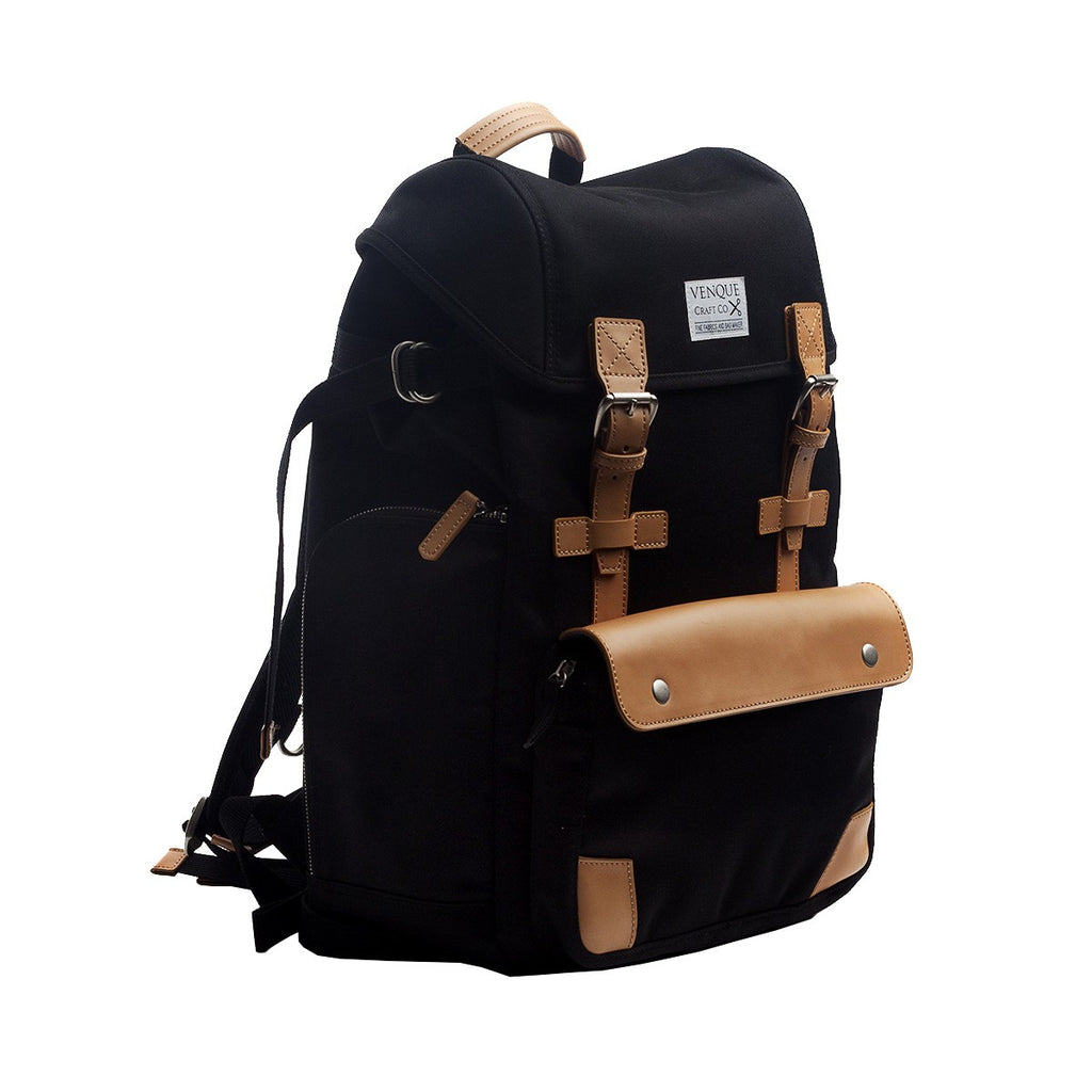 VENQUE ALPINE RUCKSACK IN BLACK WITH BROWN LEATHER  - 2