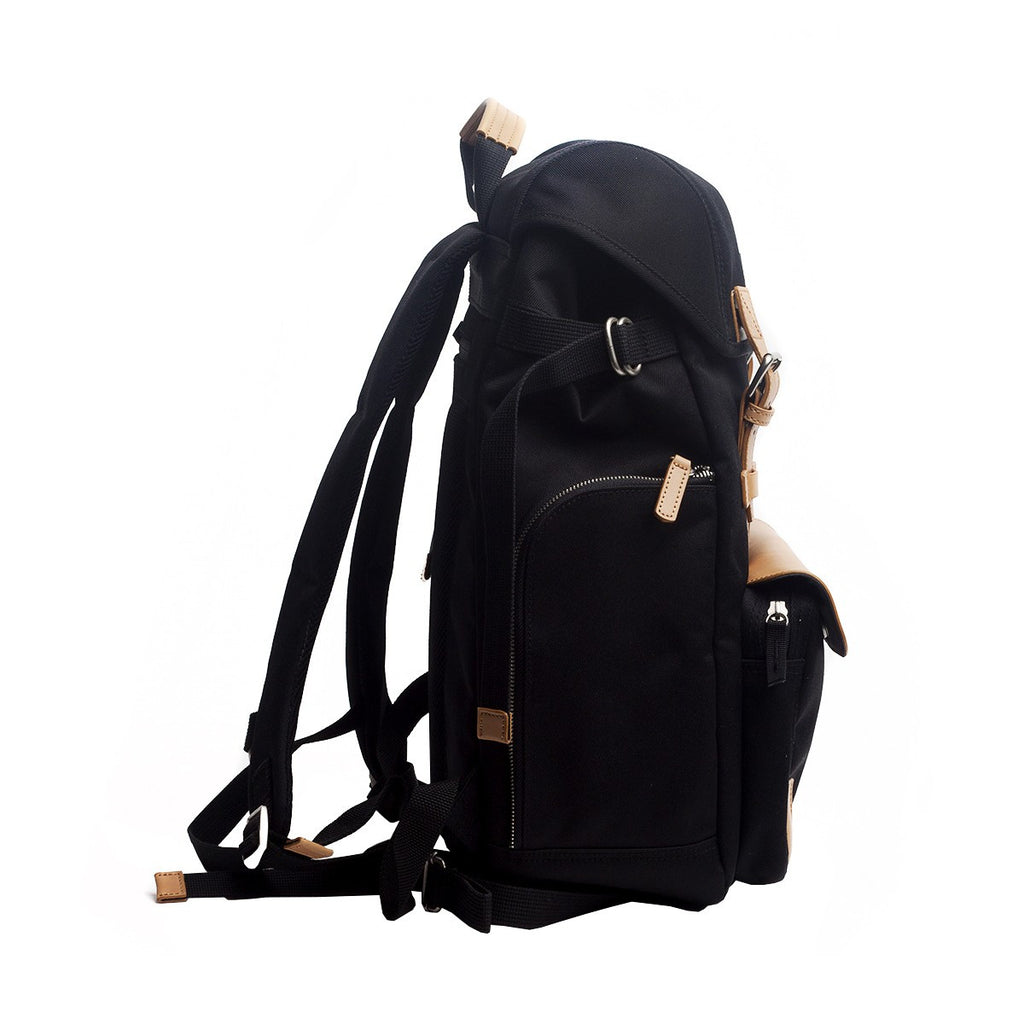 VENQUE ALPINE RUCKSACK IN BLACK WITH BROWN LEATHER  - 3