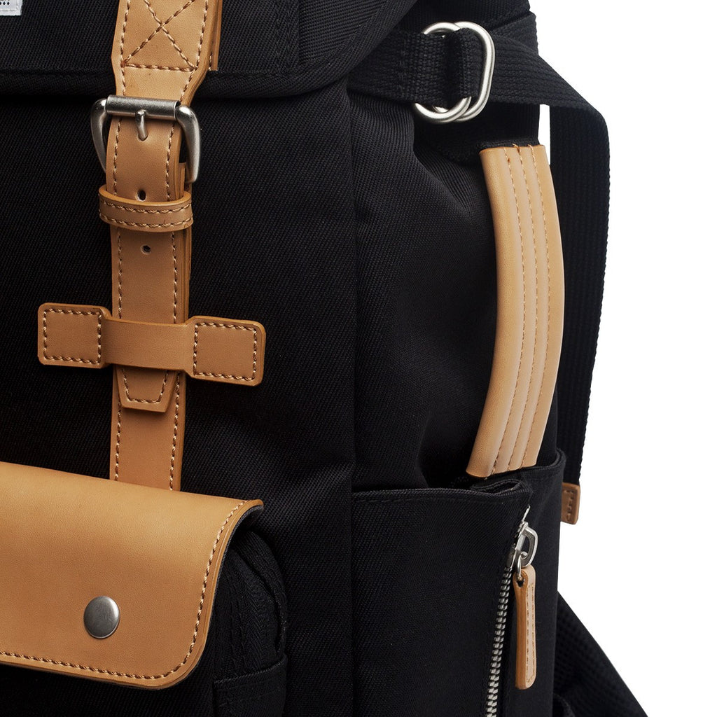 VENQUE ALPINE RUCKSACK IN BLACK WITH BROWN LEATHER  - 5