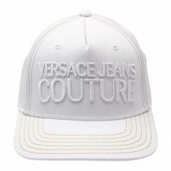 VERSACE JEANS COUTURE GOLD-STITCH 6-PANEL CAP IN WHITE