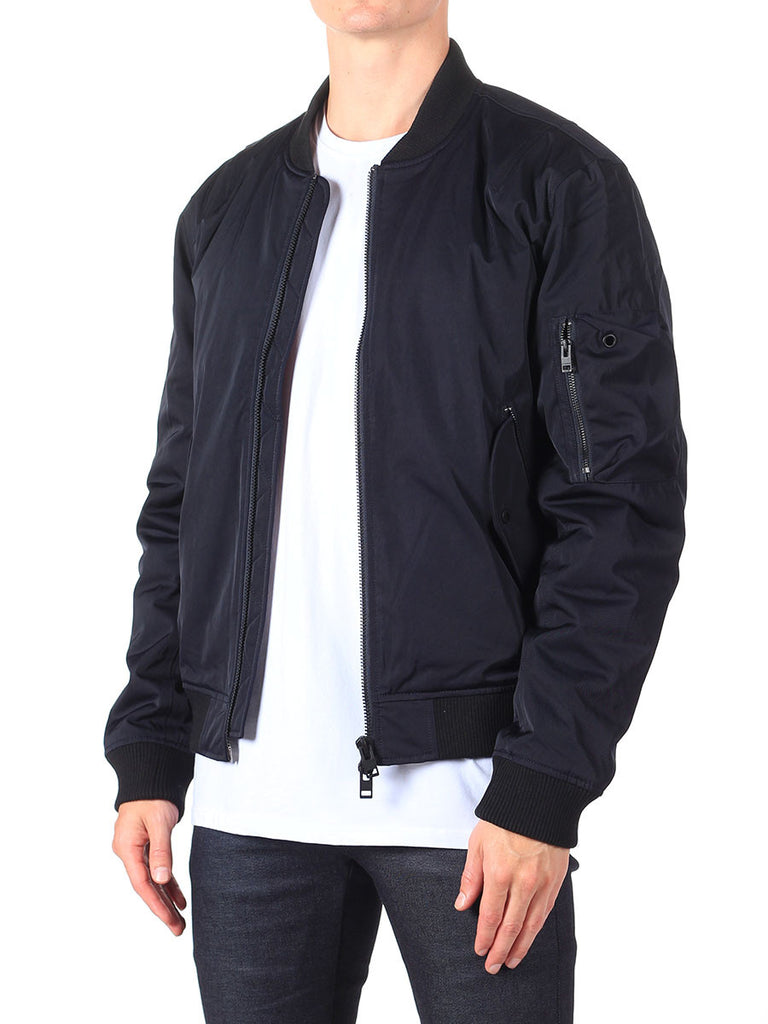 J Lindeberg Rafe 66 Twill Bomber Jacket in Midnight Navy  - 3