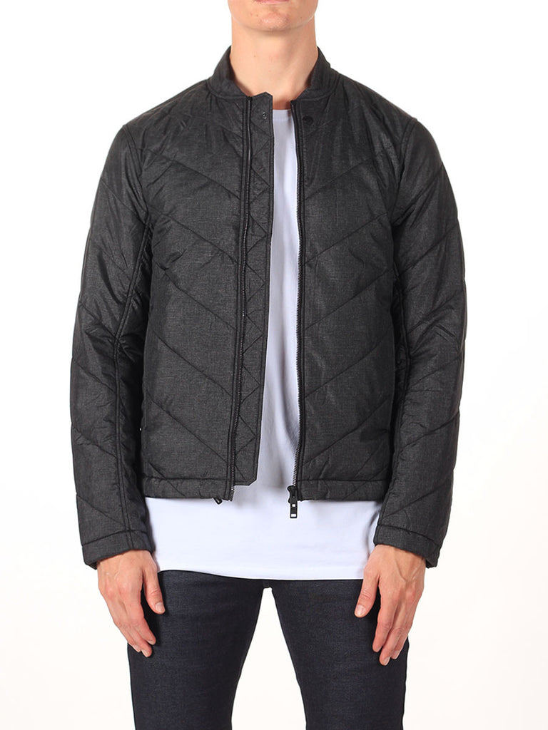 J Lindeberg Travon 66 Print Quilted Jacket in Black Melange  - 1