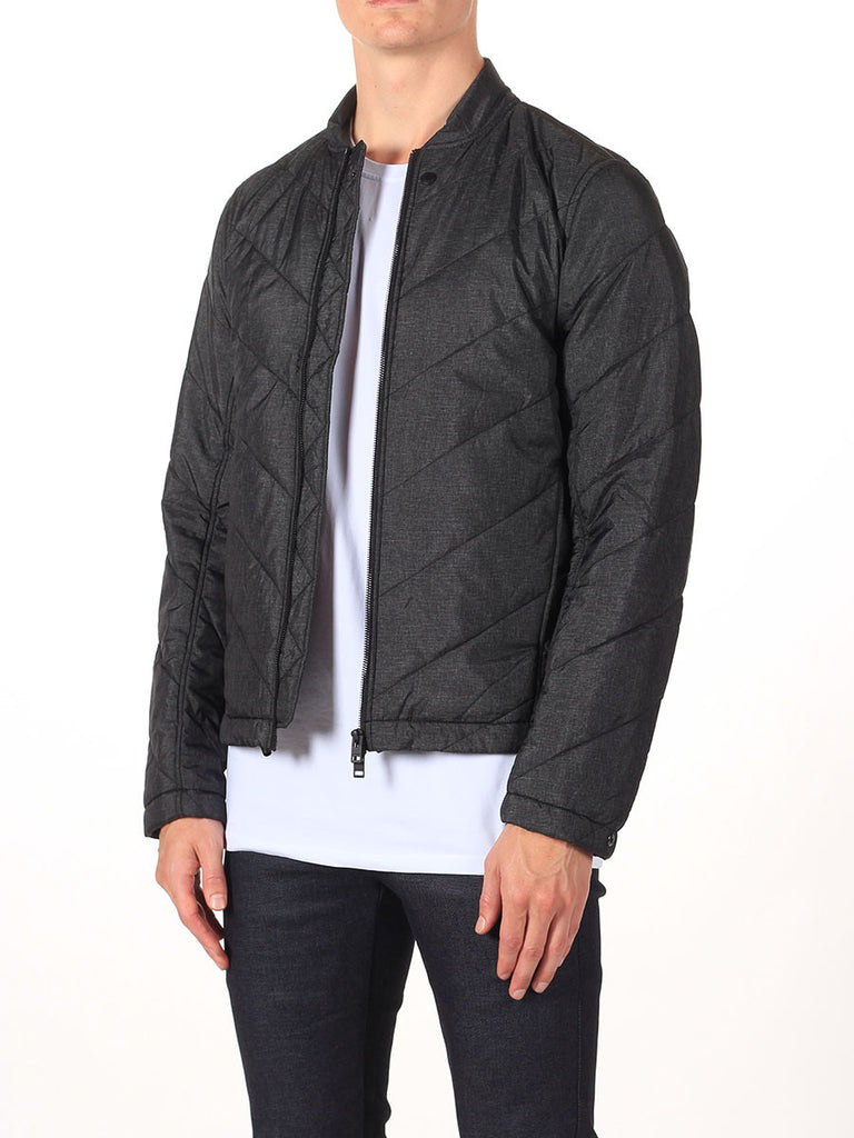 J Lindeberg Travon 66 Print Quilted Jacket in Black Melange  - 3
