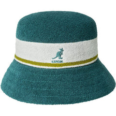 KANGOL BERMUDA STRIPE BUCKET HAT IN FANFARE TEAL