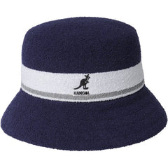 KANGOL BERMUDA STRIPE BUCKET HAT IN NAVY