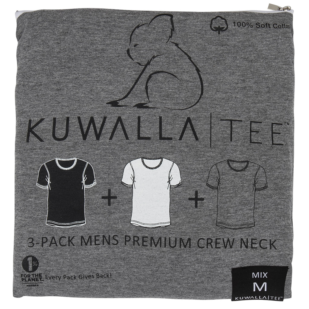 KUWALLA TEE CREW-NECK T-SHIRT 3-PACK IN TRICOLOR  - 1