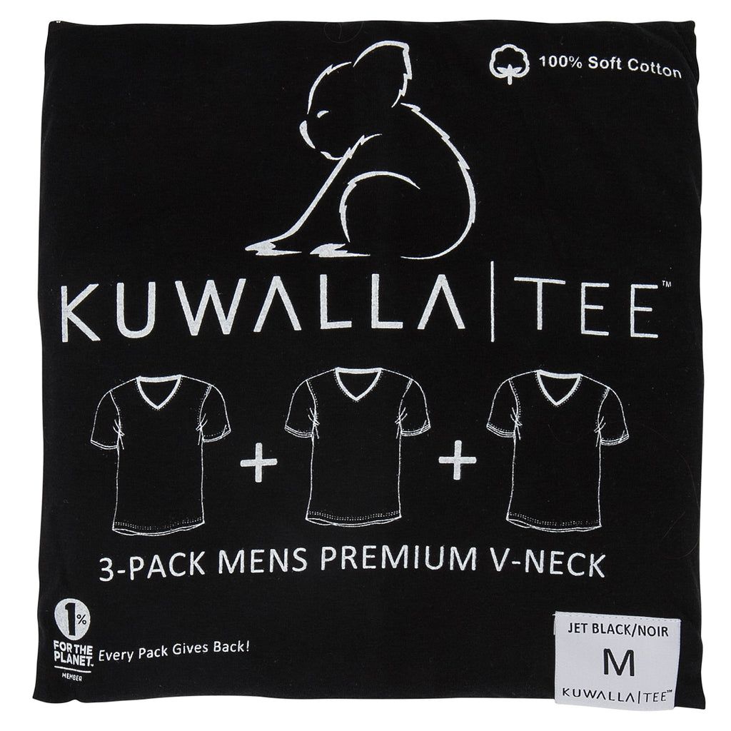 KUWALLA TEE V-NECK T-SHIRT 3-PACK IN BLACK