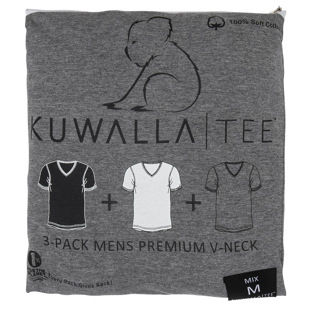 KUWALLA TEE V-NECK T-SHIRT 3-PACK IN TRICOLOR  - 1