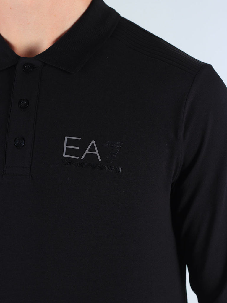 EA7 Longsleeve Polo Shirt in Black