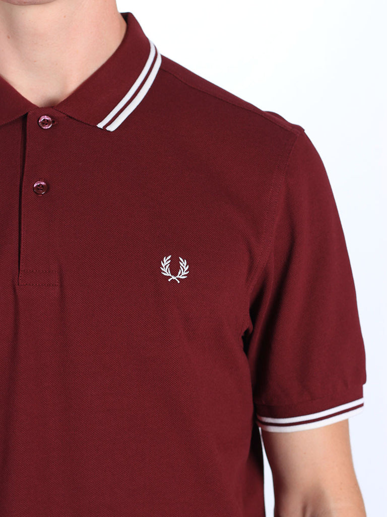 Fred Perry Twin Tipped Polo Shirt in Burgundy